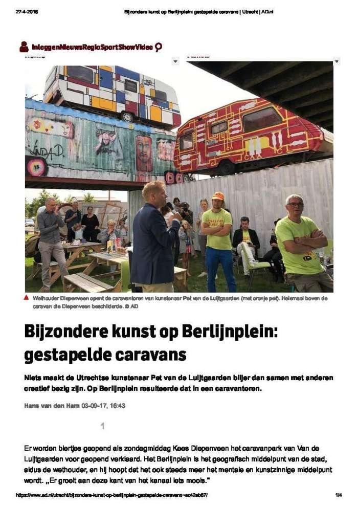 Bijzondere Kunst Op Berlijnplein Gestapelde Caravans  Utrecht  Ad Page 1