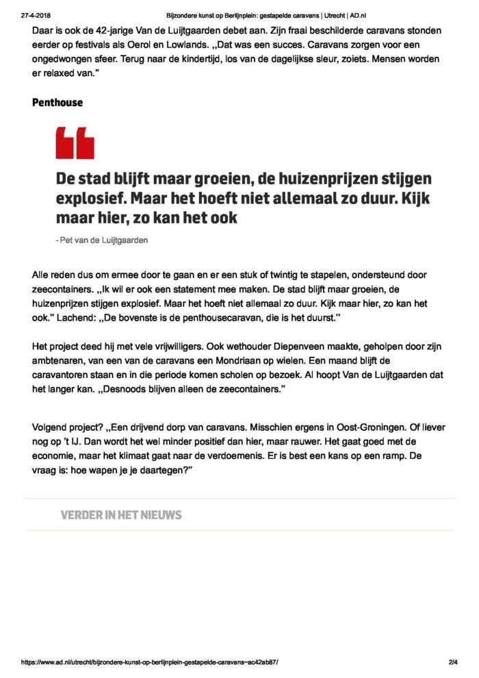 Bijzondere Kunst Op Berlijnplein Gestapelde Caravans  Utrecht  Ad Page 2